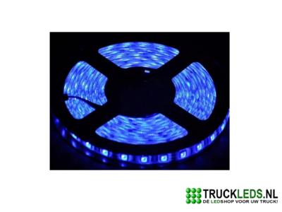 5 meter LEDstrip 24v waterproof Blauw.